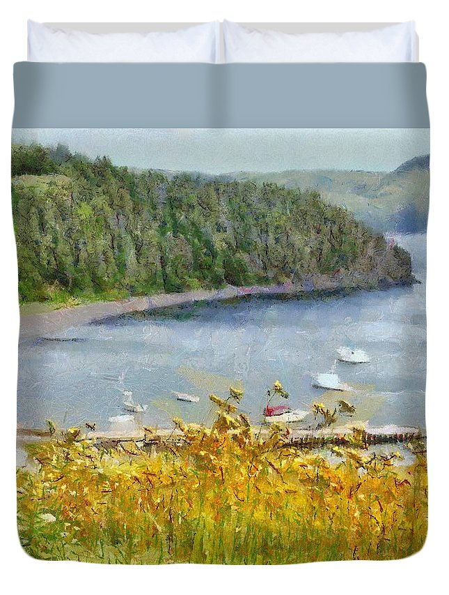 Canadian Duvet Cover featuring the painting Overlooking the Harbor by Jeffrey Kolker