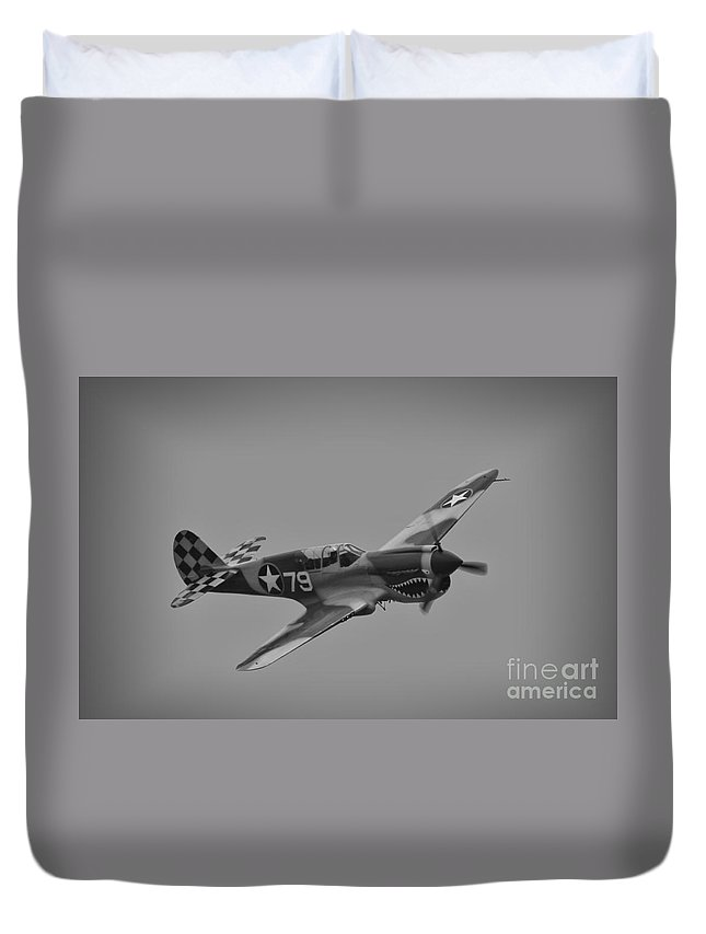 Usaaf Duvet Cover featuring the photograph P-40 Warhawk Bw by Tommy Anderson