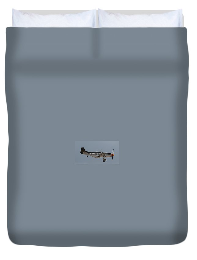 P-51 Duvet Cover featuring the photograph P-51 Landing Configuration by John Daly