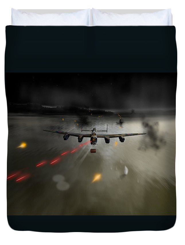 Dambusters Duvet Cover featuring the photograph P-popsie Attacking The Mohne Dam by Gary Eason