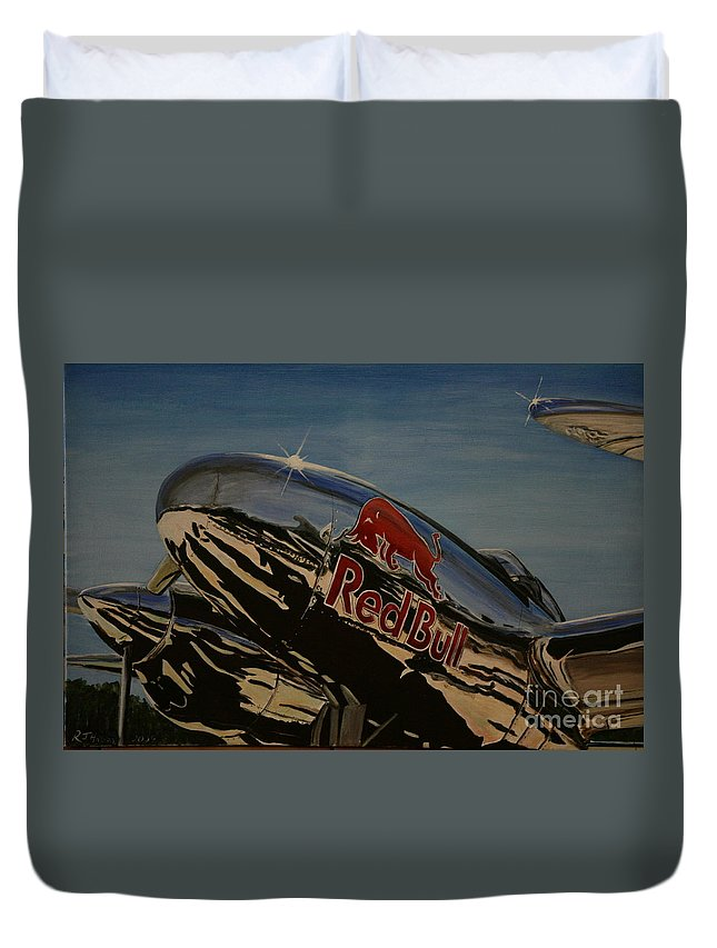 Warbirds Duvet Cover featuring the painting P38 Red Bull Lightning Warbird by Richard John Holden RA