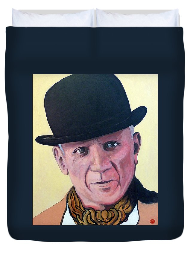 Pablo Picasso Duvet Cover featuring the painting Pablo Picasso by Tom Roderick