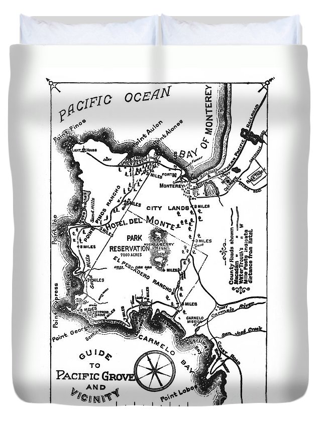 Pacific Grove Duvet Cover featuring the photograph Pacific Grove And Vicinity Monterey Peninsula California Circa 1880 by California Views Archives Mr Pat Hathaway Archives