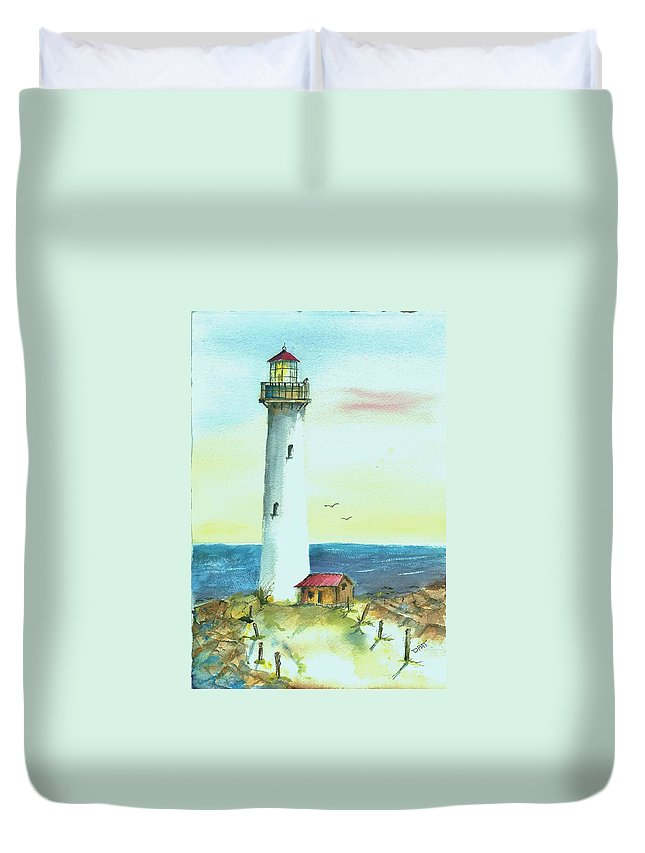 Watercolor Lighthouse Duvet Cover featuring the painting Pacific Lighthouse by David Patrick