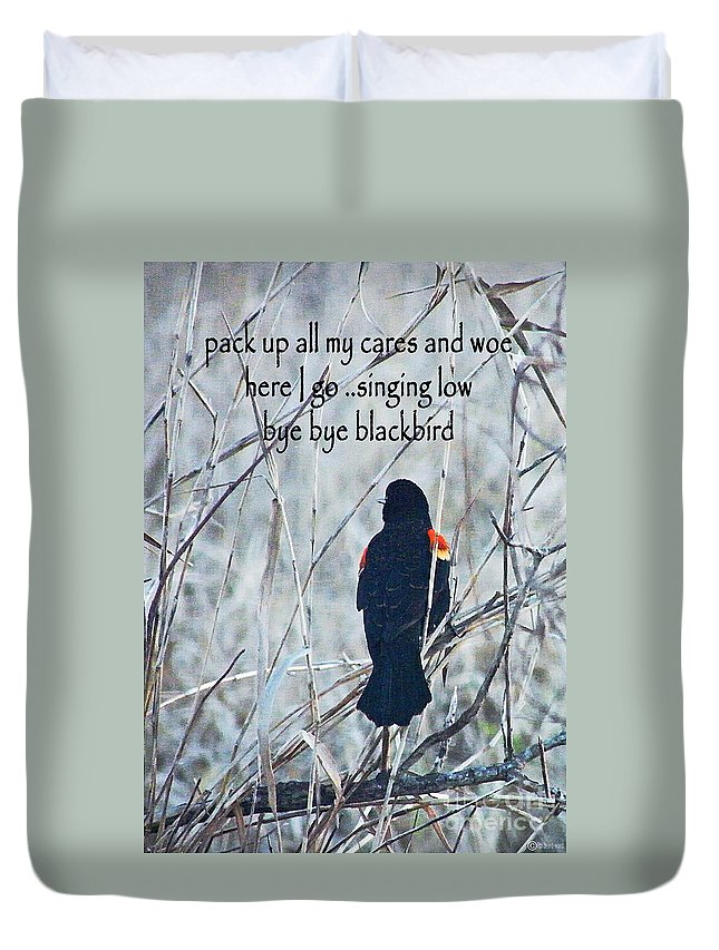 Bye Bye Blackbird Duvet Cover featuring the digital art Pack Up All My Cares And Woe by Lizi Beard-Ward