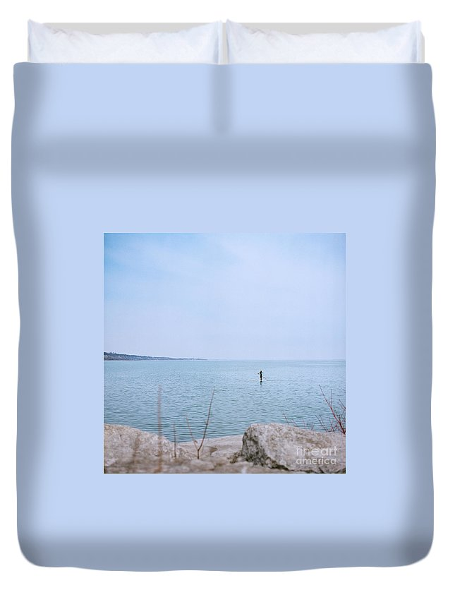 Woman Duvet Cover featuring the photograph Stand-up Paddle Boarding by Mary Smyth