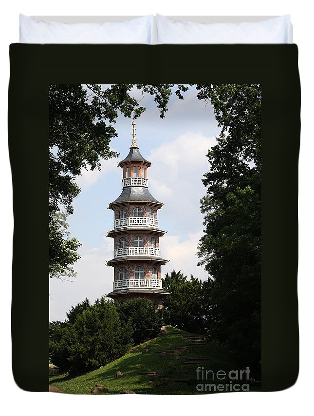Pagoda Duvet Cover featuring the photograph Pagoda - Dessau Woerlitz by Christiane Schulze Art And Photography