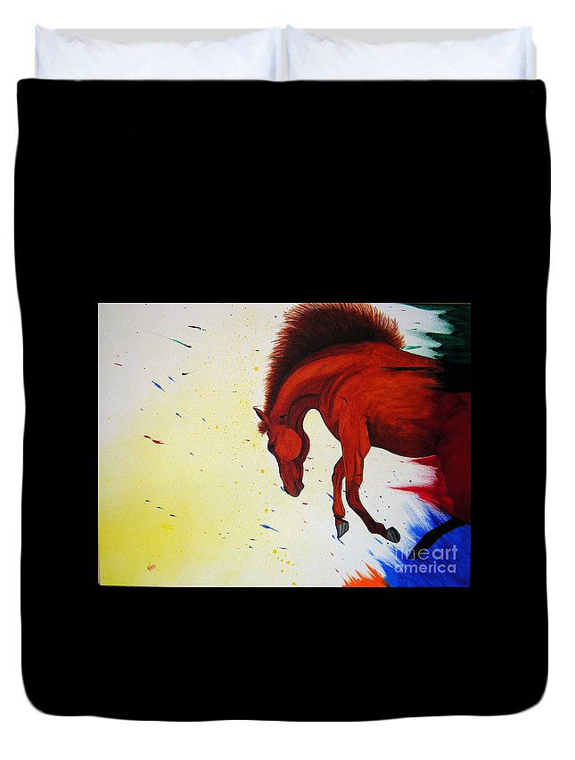 Horse Duvet Cover featuring the painting Paint Horse by Kami Catherman