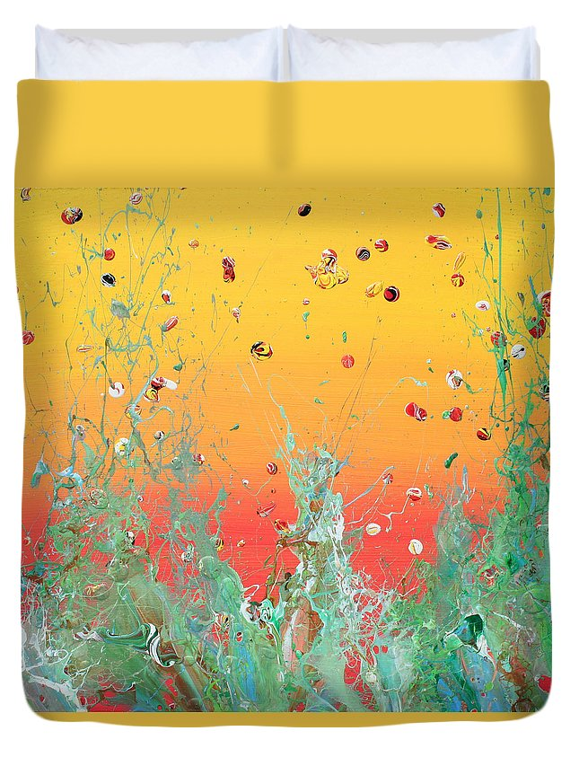 Acrylic Duvet Cover featuring the painting Paint Number Ninteen Diptych by Ric Bascobert