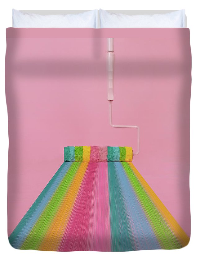 Art Duvet Cover featuring the photograph Paint Roller With Rainbow Stripes by Juj Winn