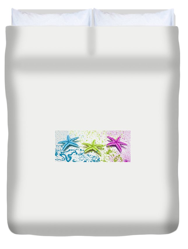 Paint Spattered Star Fish Duvet Cover featuring the photograph Paint Spattered Star Fish by Mechala Matthews
