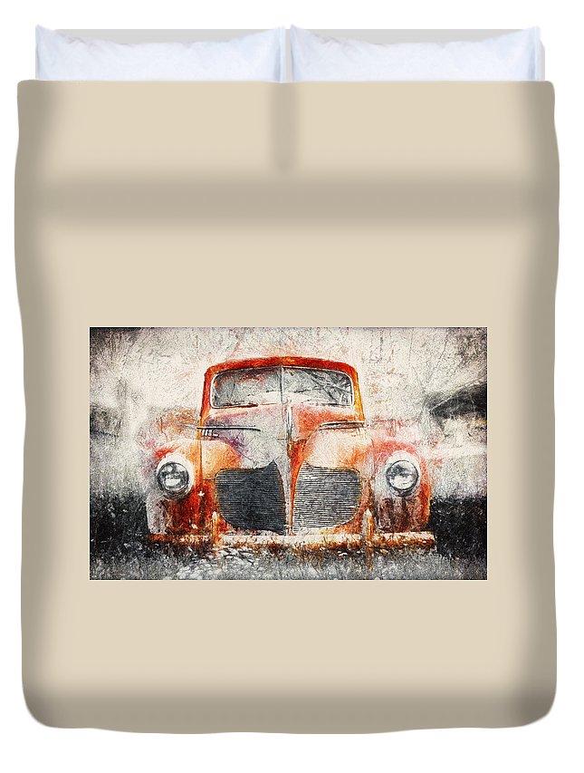Classic Car Drawings Duvet Covers
