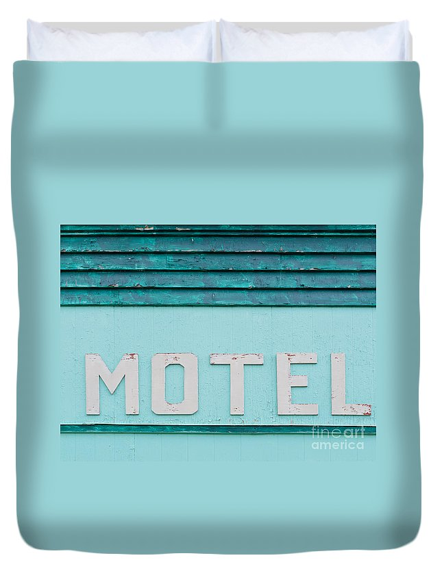 Architecture Duvet Cover featuring the photograph Painted Blue-green Historic Motel Facade Siding by Stephan Pietzko