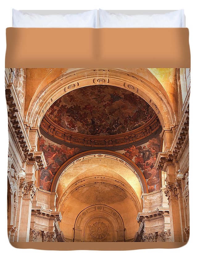 Arch Duvet Cover featuring the photograph Painted Ceiling Inside The Cathedral At by Julian Elliott Photography