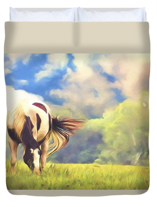 Horse Duvet Cover featuring the photograph Painted Colours by Alice Gipson