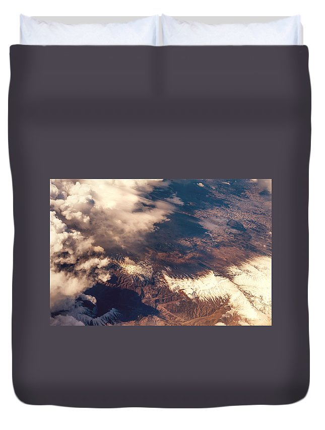 Aerial Duvet Cover featuring the photograph Painted Earth IIi by Jenny Rainbow