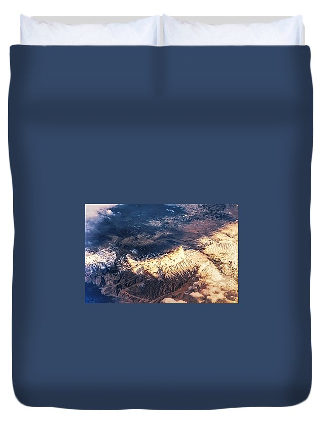 Aerial Duvet Cover featuring the photograph Painted Earth Iv by Jenny Rainbow