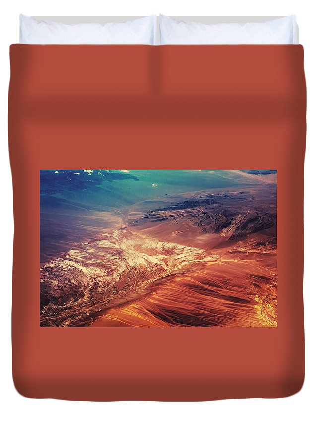 Aerial Duvet Cover featuring the photograph Painted Earth by Jenny Rainbow