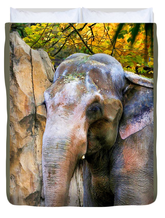 Elephant Duvet Cover featuring the photograph Painted Elephant by Athena Mckinzie
