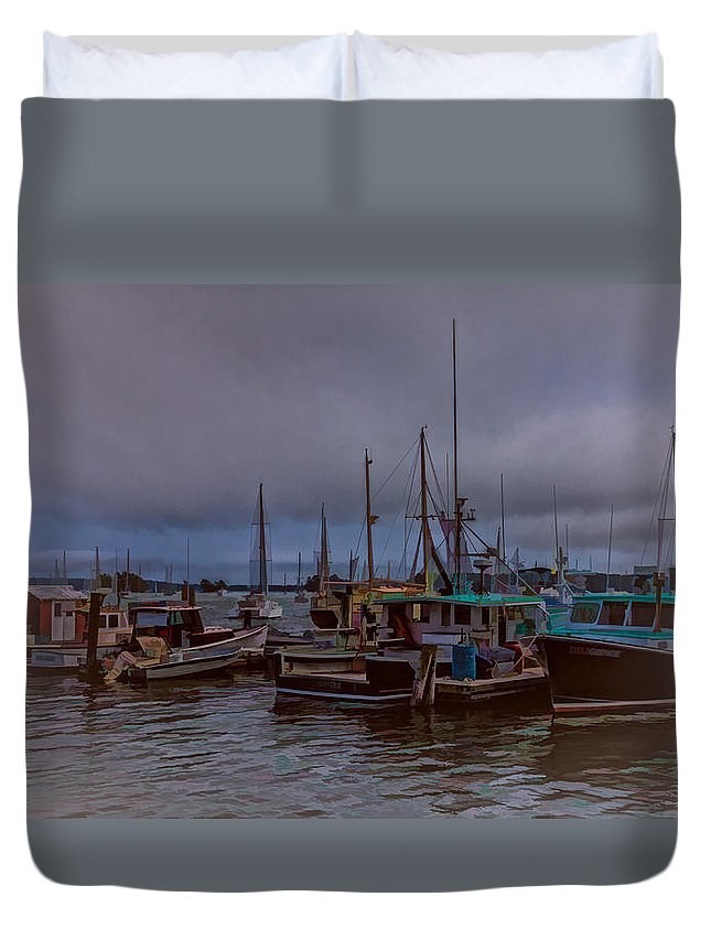 Harbor Duvet Cover featuring the photograph Painted Harbor by Brenda Hackett