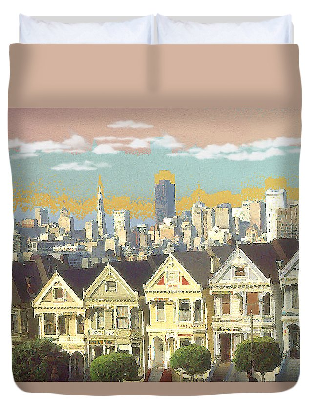 San+francisco Duvet Cover featuring the painting San Francisco Alamo Square - Watercolor Illustration by Peter Potter