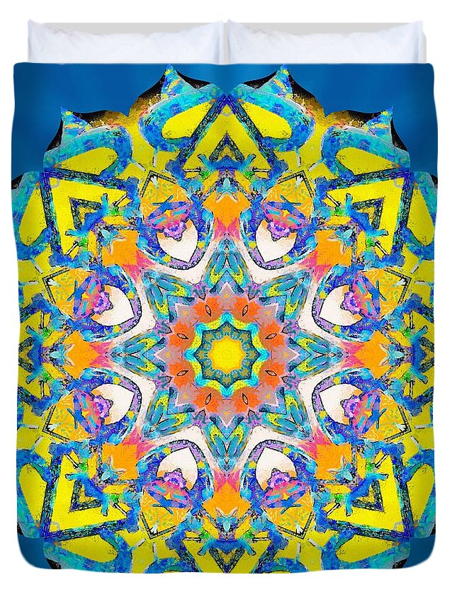 Sacredlife Mandalas Duvet Cover featuring the painting Painted Lotus Xv by Derek Gedney