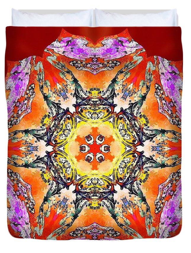 Sacredlife Mandalas Duvet Cover featuring the painting Painted Lotus Xvii by Derek Gedney