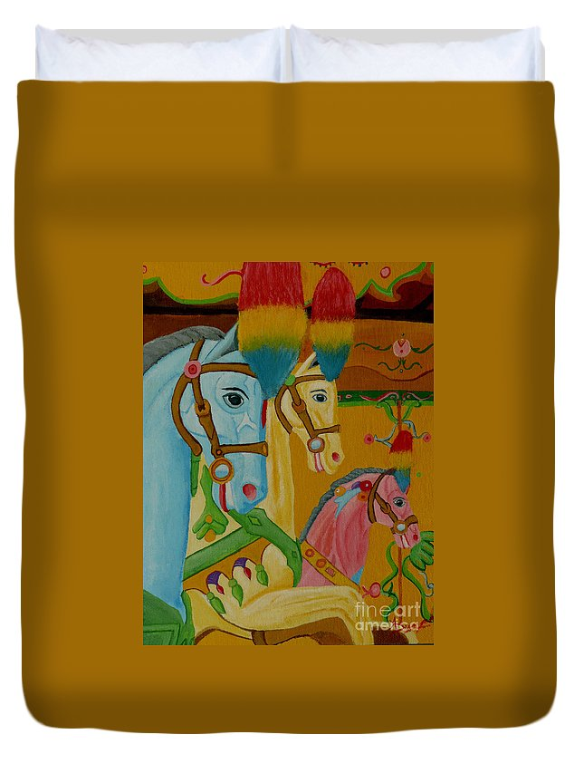 Carousel Duvet Cover featuring the painting Painted Ponies by Anthony Dunphy