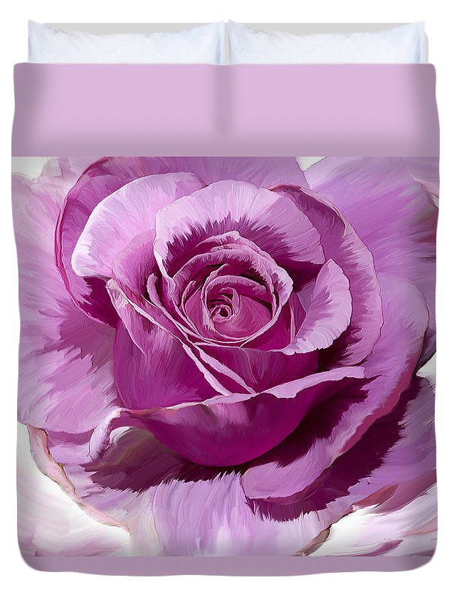 Rose Duvet Cover featuring the photograph Painted Purple Rose by Phyllis Denton