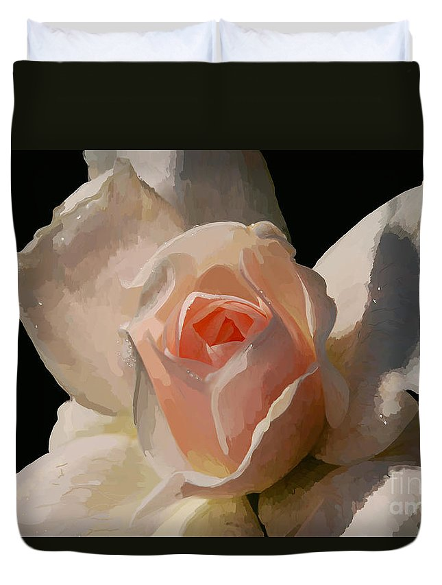 Rose Duvet Cover featuring the digital art Painted Rose by Lois Bryan