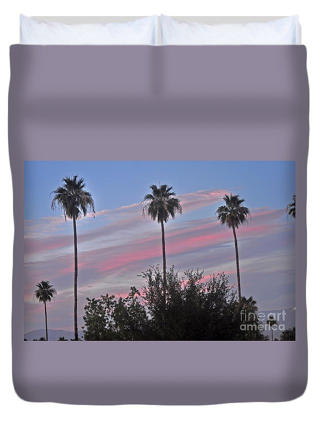 Trees Duvet Cover featuring the photograph Painted Sky by Jay Milo