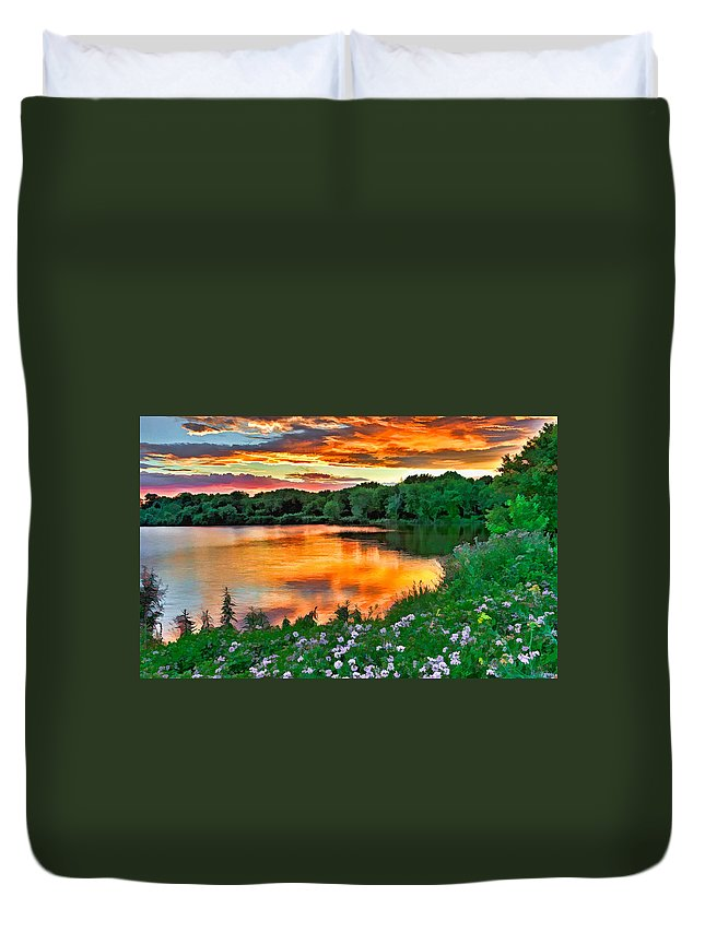 Sunset Duvet Cover featuring the photograph Painted Sunset by William Jobes