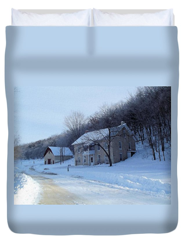 Motor Mill Duvet Cover featuring the digital art Painted Winter by Bonfire Photography