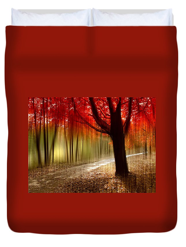 Autumn Duvet Cover featuring the photograph Painted With Light by Jessica Jenney
