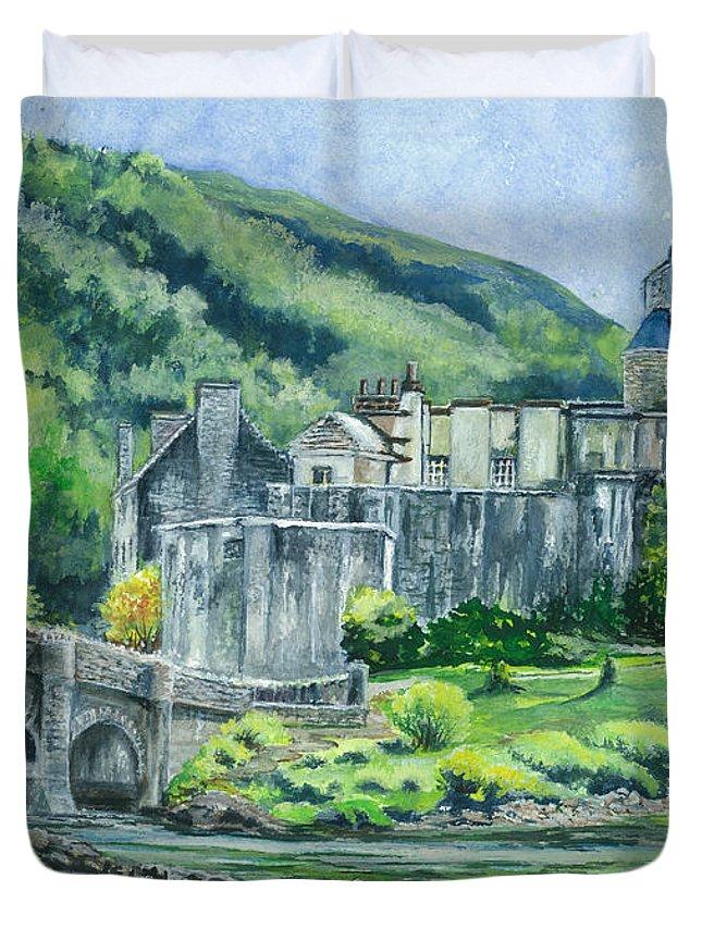 Castle Duvet Cover featuring the painting Eilean Donan Medieval Castle Scotland by Carol Wisniewski