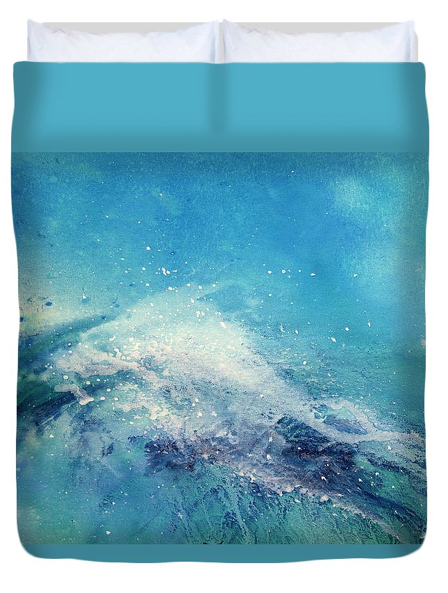 Gouache Duvet Cover featuring the digital art Painting Of An Ocean Wave by Brad Rickerby