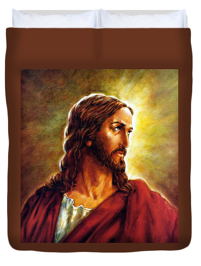 Jesus Duvet Cover featuring the painting Painting Of Christ by John Lautermilch