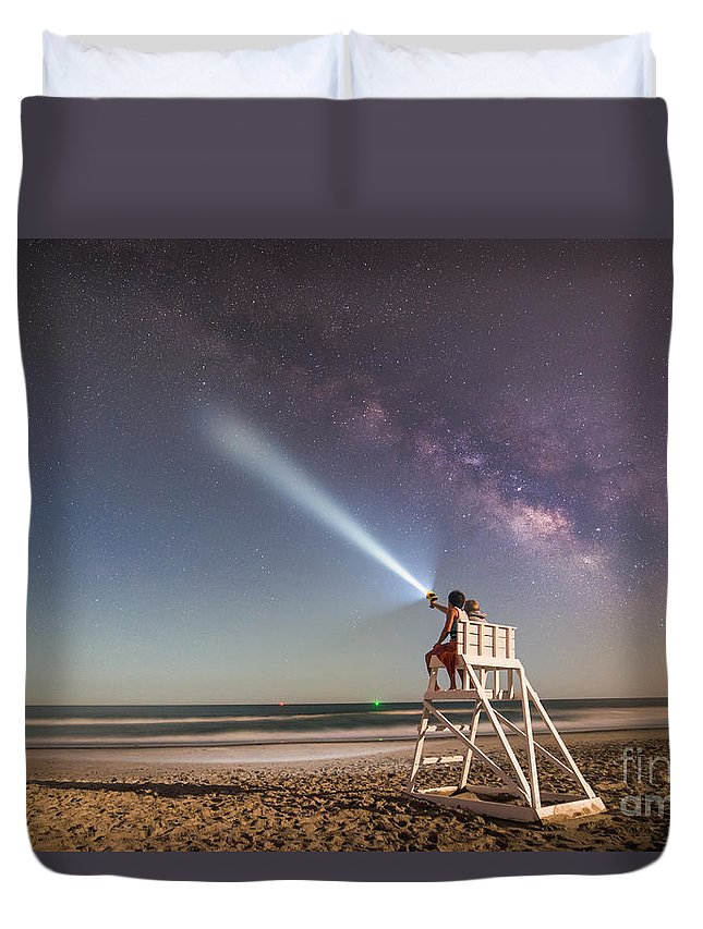 Milky Way Mike Duvet Cover featuring the photograph Painting With Light by Michael Ver Sprill