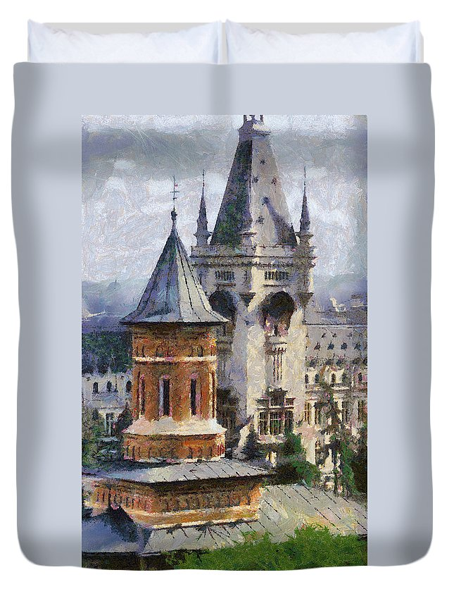 Chapel Duvet Cover featuring the painting Palace Of Culture by Jeffrey Kolker