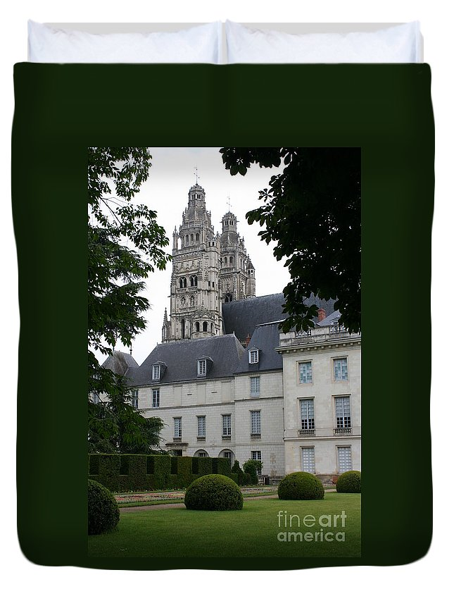 Cathedral Duvet Cover featuring the photograph Palais In Tours With Cathedral Steeple by Christiane Schulze Art And Photography