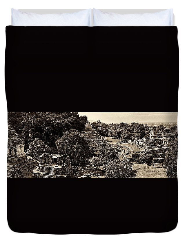 Palenque Duvet Cover featuring the photograph Palenque From The Jungle Panorama Sepia by Weston Westmoreland