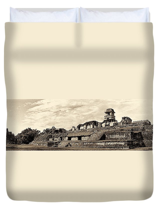 Palenque Duvet Cover featuring the photograph Palenque Panorama Sepia by Weston Westmoreland