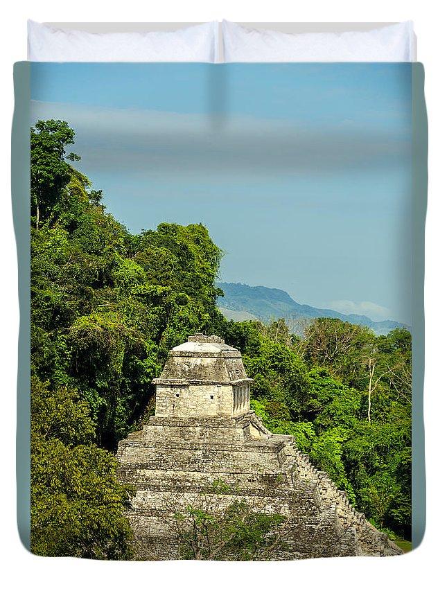 Palenque Duvet Cover featuring the photograph Palenque Temple by Jess Kraft