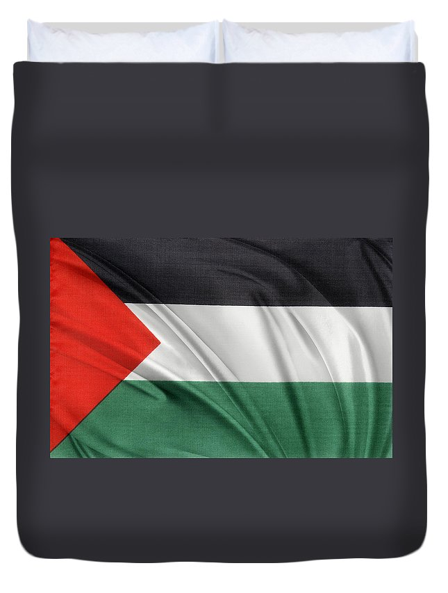 Abstract Duvet Cover featuring the photograph Palestine Flag by Les Cunliffe