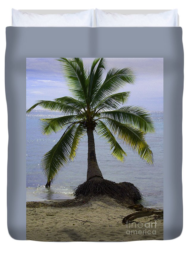 Palm Duvet Cover featuring the photograph Palm At The Edge Of The Sea Number Two by Heather Kirk