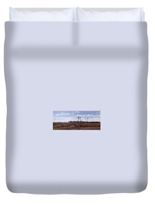 Carlos De Haes Duvet Cover featuring the painting Palm Forest In Elche by Carlos de Haes
