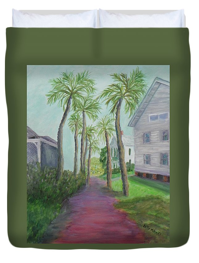 Brick Duvet Cover featuring the painting Palm Row In St. Augustine Florida by Patty Weeks