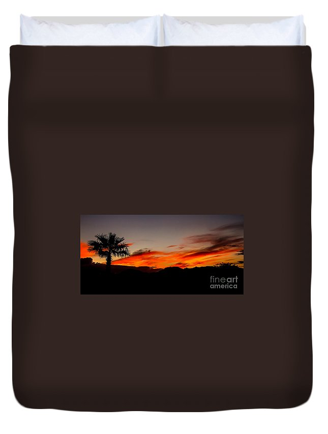 Sunrise Duvet Cover featuring the photograph Palm Sunrise by Robert Bales