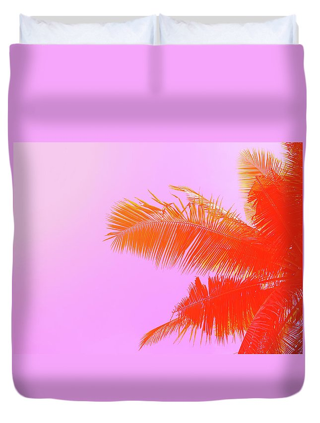 Orange Color Duvet Cover featuring the photograph Palm Tree On Sky Background. Palm Leaf by Slavadubrovin