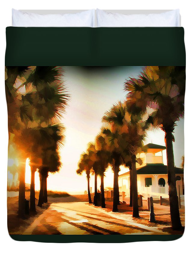 Palm Tree Florida Sunrise Jacksonville Beach Entrance Duvet Cover featuring the photograph Palm Tree Sunrise by Alice Gipson